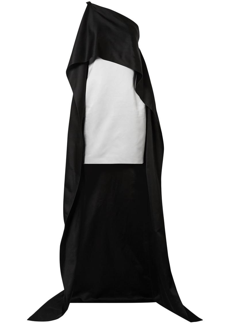 Narciso Rodriguez Woman Cape-effect Silk-charmeuse Mini Dress Black