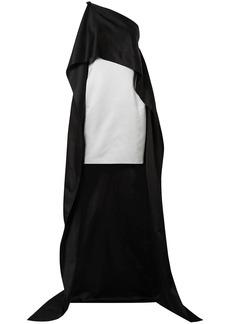 Narciso Rodriguez Woman One-shoulder Cape-effect Silk Duchesse-satin Mini Dress Black