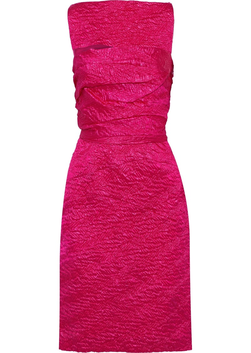 Narciso Rodriguez Woman Cutout Metallic Silk-blend Cloqué Dress Fuchsia