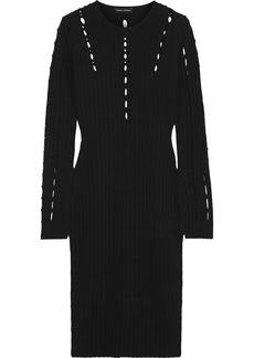 Narciso Rodriguez Woman Cutout Ribbed-knit Dress Black