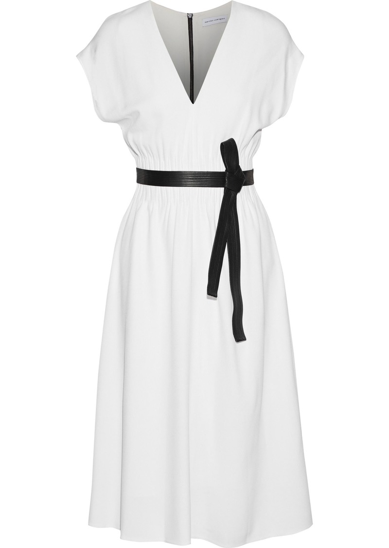 Narciso Rodriguez Woman Leather-trimmed Stretch-crepe Dress White