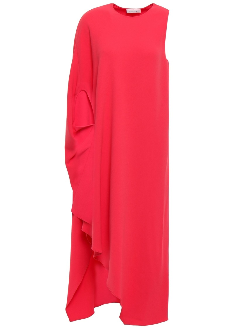 Narciso Rodriguez Woman One-shoulder Draped Crepe Midi Dress Coral