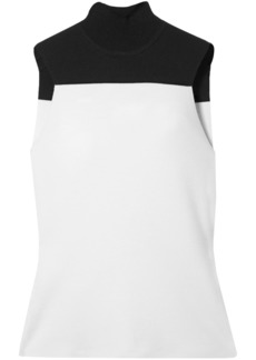 Narciso Rodriguez Woman Two-tone Wool-blend Turtleneck Top White