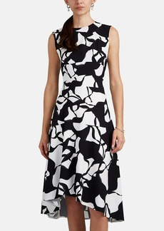 Narciso Rodriguez Women's Abstract-Print Stretch-Silk A-Line Dress
