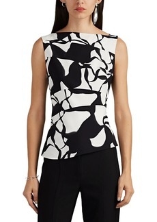Narciso Rodriguez Women's Asymmetric Abstract-Print Stretch-Silk Top