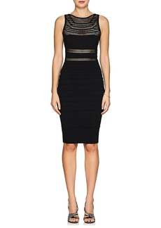 Narciso Rodriguez Women's Crochet-Inset Rib-Knit Fitted Dress