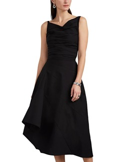 Narciso Rodriguez Women's Draped Textured Cotton-Blend Asymmetric Dress