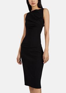 Narciso Rodriguez Women's Draped Wool-Blend Crepe Asymmetric Midi-Dress