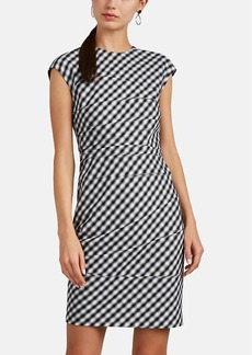 Narciso Rodriguez Women's Gingham-Weave Wool Fitted Sheath Dress