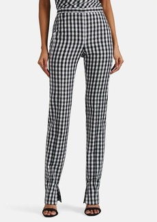 Narciso Rodriguez Women's Gingham Wool Straight-Leg Trousers