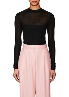 Narciso Rodriguez Women's Mixed-Rib-Knit Silk-Blend Fitted Sweater