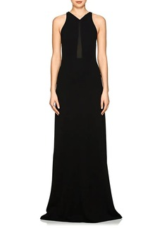 Narciso Rodriguez Women's Sheer-Inset V-Neck Gown