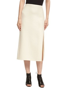 Narciso Rodriguez Wool-Silk Pencil Skirt with Slit