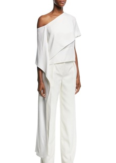 Narciso Rodriguez One-Shoulder Silk Satin Blouse with Asymmetric Panel