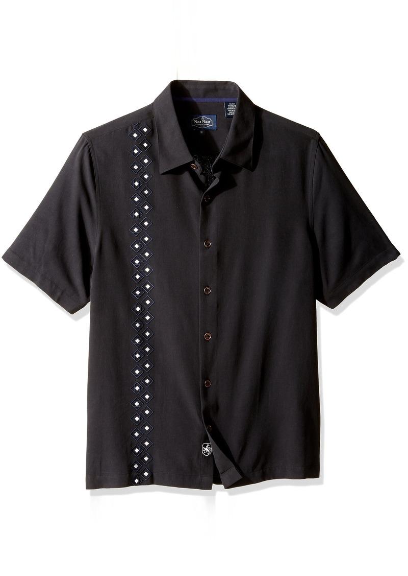Nat nast nat nast men 39 s novelty traditional fit silk blend for Mens silk shirts amazon