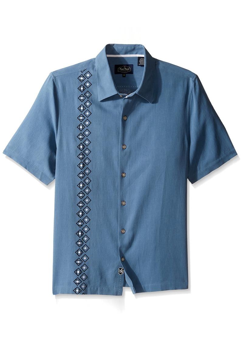 Nat nast nat nast men 39 s novelty traditional fit silk blend for Silk short sleeve shirt