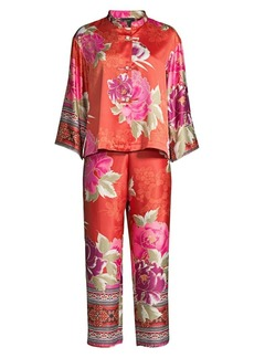 Natori Auburn/Mulberry Purple Fusion Mandarin Two-Piece Pajama Set