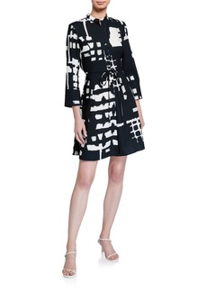 Natori Block-Print 3/4-Sleeve Fit-&-Flare Dress with Tie