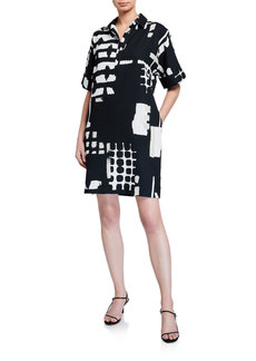 Natori Block-Print Short-Sleeve Dress with Collar