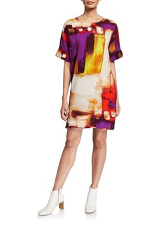 Natori Brushstroke Short-Sleeve Crepe T-Shirt Dress