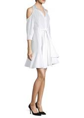 Natori Cold-Shoulder Poplin Dress