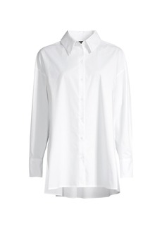 Natori Cotton Poplin Button-Front Top