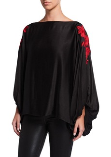Natori Crinkle Satin Drama Blouse with Embroidery