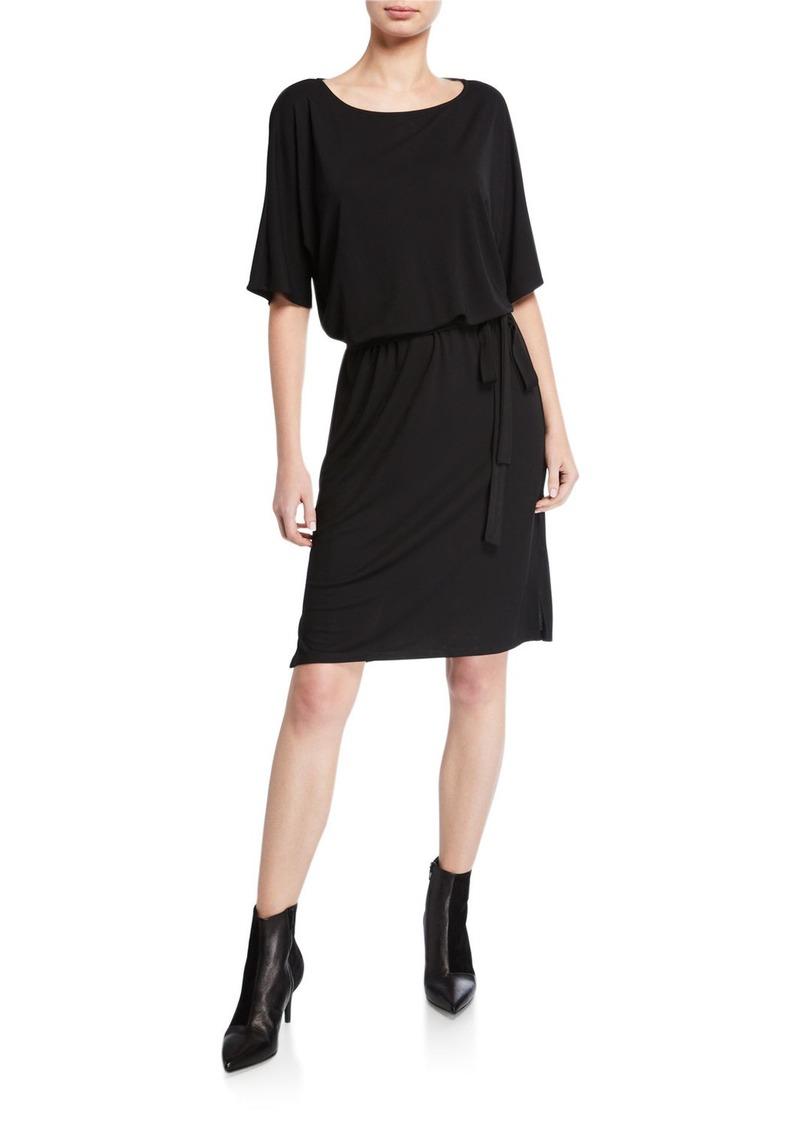 Natori Elbow-Sleeve Matte Jersey Easy Dress wit Tie Belt