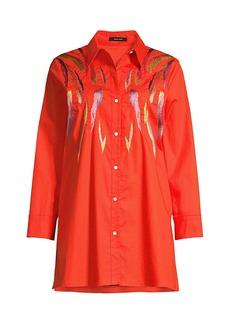 Natori Embroidered Stretch Cotton Tunic Shirt