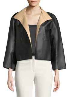 Natori Faux-Leather Shirt Topper Jacket