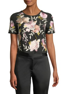Natori Floral Embroidery Crop Top