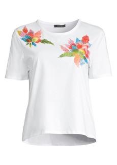 Natori Floral Embroidery Supima Cotton T-Shirt