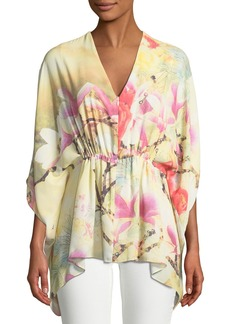 Natori Floral Print Three-Quarter Sleeve Tunic