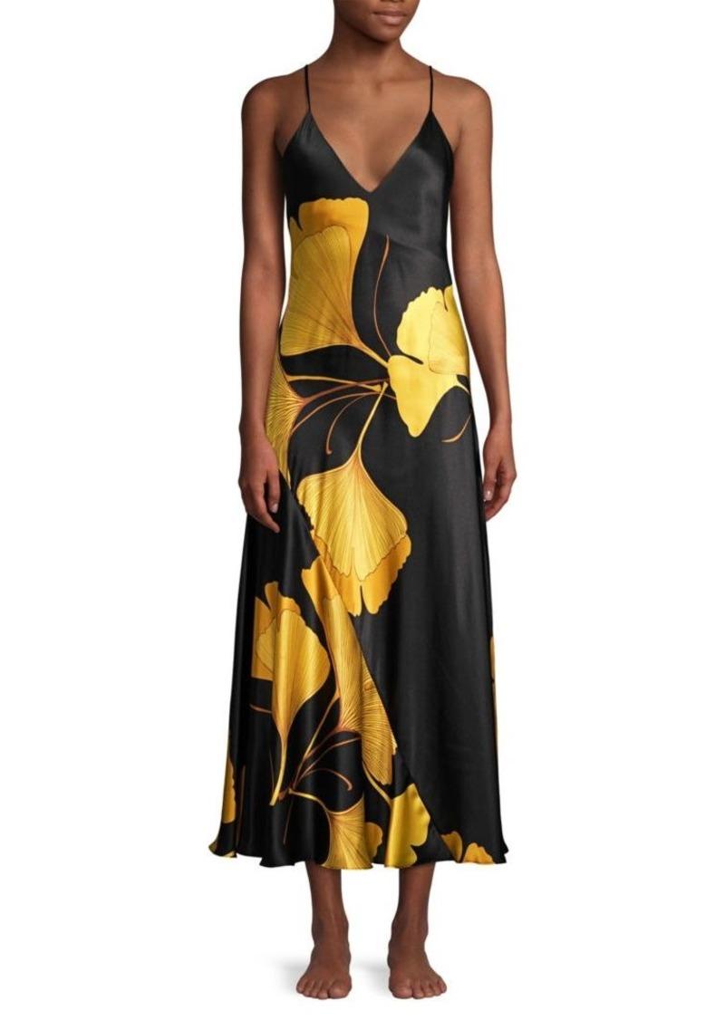 Josie Natori Gingko Floral Silk Nightgown