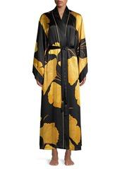 Josie Natori Gingko Floral Silk Robe
