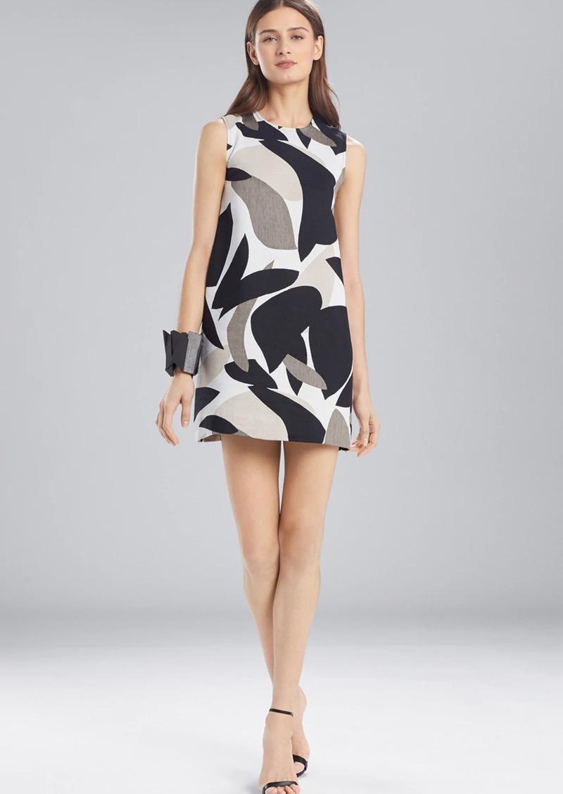 Josie Natori Abstract Printed Jacquard Sleeveless Dress