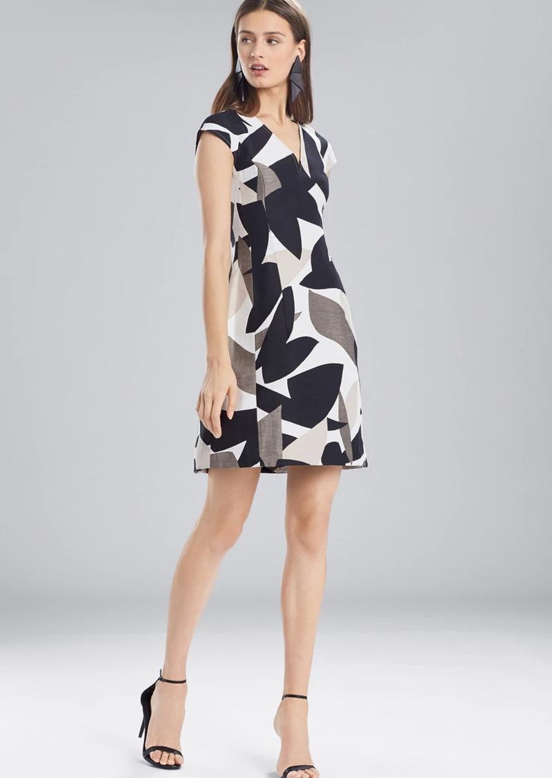 Josie Natori Abstract Printed Jacquard Sleeveless Seam Dress