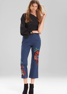 Josie Natori Casual Twill Flare Pants With Embroidery