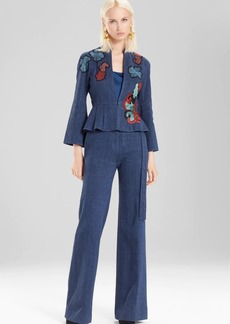 Josie Natori Casual Twill Peplum Jacket With Embroidery