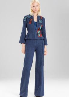 Josie Natori Casual Twill Peplum Jacket With Embroidery
