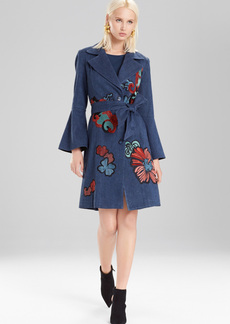 Josie Natori Casual Twill Trench Coat With Embroidery