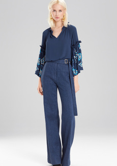Josie Natori Casual Twill Wide Leg Pants
