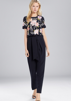 Josie Natori Core Crepe Embroidered Top