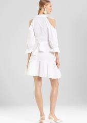Josie Natori Cotton Poplin Cold Shoulder Dress