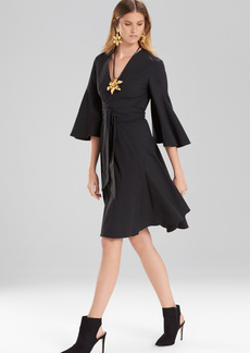 Josie Natori Cotton Poplin V-Neck Wrap Dress