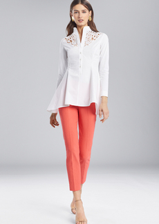 Josie Natori Cotton Shirting Flare Top With Embroidery