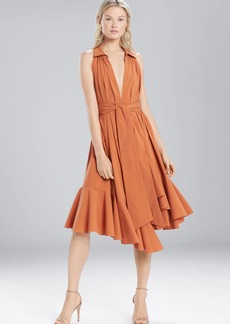 Josie Natori Cotton Shirting Halter Dress