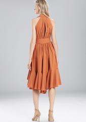 Josie Natori Cotton Shirting Halter Dress