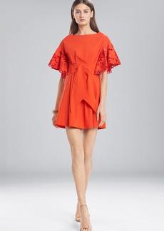 Josie Natori Cotton Shirting Ruffle Sleeve Dress
