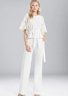 Josie Natori Cotton Shirting Ruffle Sleeve Top